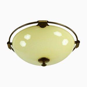 Lámpara de techo Art Déco vintage de vidrio y latón