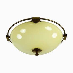 Vintage Art Deco Glass and Brass Dome Ceiling Lamp