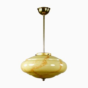 Vintage Art Deco Marble and Glass Bar Pendant Lamp