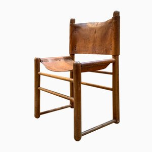 Leather and Wood Safari Chair, 1950s