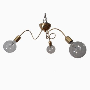 Vintage Adjustable Brass 3-Light Ceiling Lamp