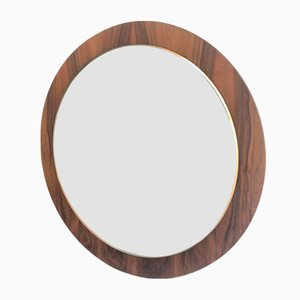 Round Wall Mirror on Wooden Slab, 1970s