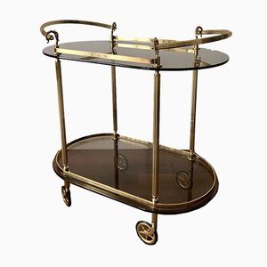 Golden Brass Bar Cart with 2 Tinted Glass Plates, 1960s
