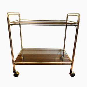Golden Tea Cart Serving Trolley in Brass with Glass, 1950s