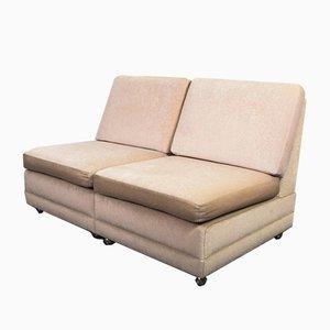 Mid-Century Rainbow Velvet 2-Seat Sofa, 1970s