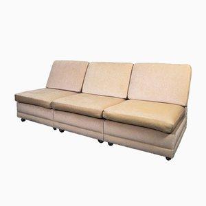 Mid-Century Rainbow Velvet 3-Seat Sofa, 1970s