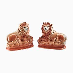 Antike Staffordshire Löwen, 2er Set