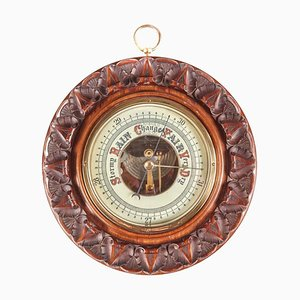 Antique Aneroid Carved Walnut Round Barometer, 1880s