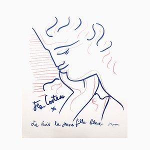 Litografia Young Girl in Blue di Jean Cocteau, 1958