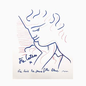 Young Girl in Blue Lithograph by Jean Cocteau, 1958