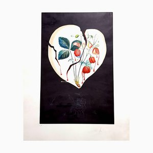 Strawberry Heart Hand-Signed Lithograph by Salvador Dali, 1970