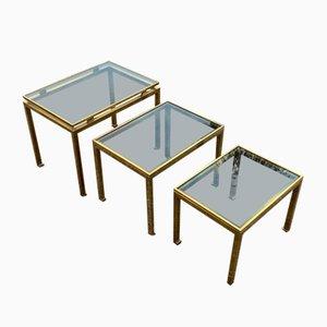 Tables Gigognes en Laiton par Guy Lefèvre pour Maison Jansen, 1970s, Set de 3
