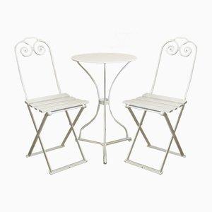 Juego de mesa y sillas de jardín antiguo pequeño, década de 1900. Juego de 3