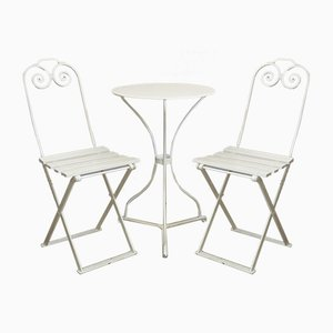 Small Antique Garden Table and Chairs Set, 1900s, Set of 3