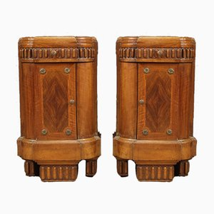Art Deco Italian Rosewood Nightstands, 1930s, Set of 2