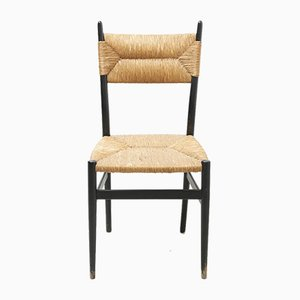 Mid-Century Black and Rush Seat Dining Chairs, 1960s, Set of 2