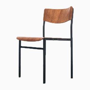 Chaise de Salon Industrielle en Métal et Teck, 1970s