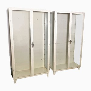Vintage German White Metal & Glass Shelves Medical Cabinets, 1960s, Set of 2