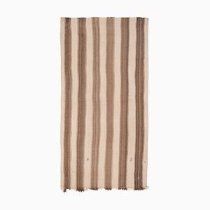 Vintage Turkish Brown Striped Hemp Kilim Rug, 1970s