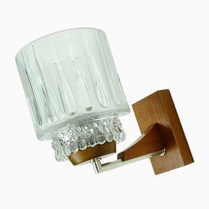 Mid-Century Glass and Walnut Sconces from Temde, Set of 2