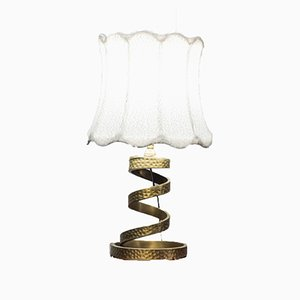 Vintage Brass Spiral Table Lamp by Luciano Frigerio, 1970s