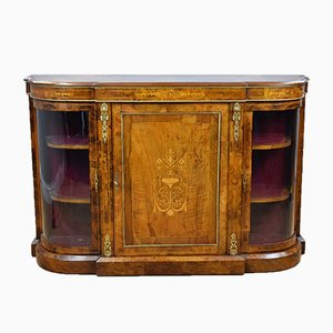 Antique Victorian Burl Walnut Inlaid Credenza