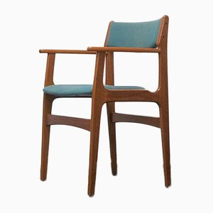 Mid-Century Danish Teak Wood Dining Chair with Turquoise Upholstery