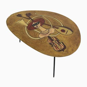 Italian Hand-Painted Coffee Table by Gianni Russian for Trieste, 1950s