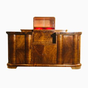 Art Deco Glass and Walnut Buffet, England, 1930s