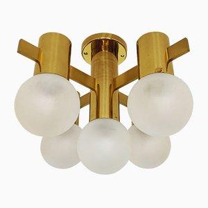 Swedish Brass Ceiling Lamp, 1960s