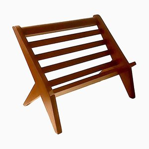 Minimalist French Teak Magazine Rack, 1950s