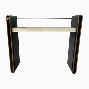 Art Deco Parchment and Maple Console Table, 1940s