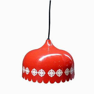 Vintage Enameled and Aluminum Pendant Lamp from Fog & Mørup, 1970