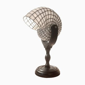 Leaded Glass Nautilus Table Lamp, 1970s