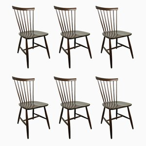 Swedish Dark Brown Wooden Chairs by Erik Fryklund for Hagafors, 1950s, Set of 6