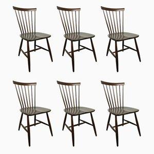 Swedish Dark Brown Wooden Chairs by Erik Fryklund for Hagafors, 1950s, Set of 6