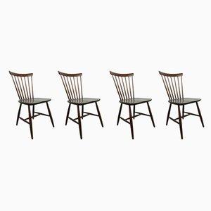Dunkelbraune Schwedische Esszimmerstühle aus Holz von Erik Fryklund für Hagafors, 1950er, 4er Set