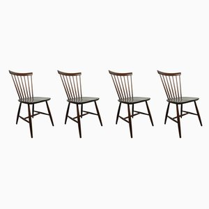 Swedish Dark Brown Wooden Dining Chairs by Erik Fryklund for Hagafors, 1950s, Set of 4