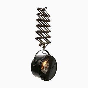 Lámpara colgante de acordeón industrial vintage grande de metal negro