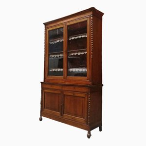 Antique Italian Cherrywood and Glass Highboard with Display Cabinet, 1900s