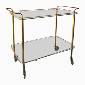 Mid-Century Italian Brass and Glass Bar Cart with Double Shelves, 1950s