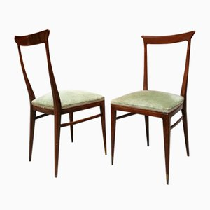 Mid-Century Italian Walnut and Green Velvet Dining Chairs by Melchiorre Bega, 1950s, Set of 6