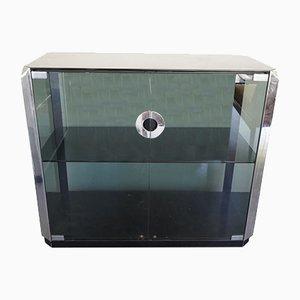Mueble italiano vintage de vidrio y cromo de Willy Rizzo para Mario Sabot, años 70