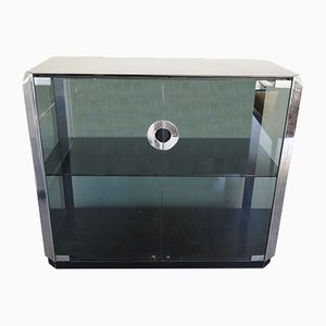 Vintage Italian Glass and Chrome Cabinet by Willy Rizzo for Mario Sabot, 1970s
