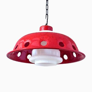 Ceiling Lamp with Red Enamel Overlay, 1960s