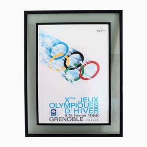 Vintage Double Framed Poster Olympic Games Grenoble by Jean Brian, France, 1967
