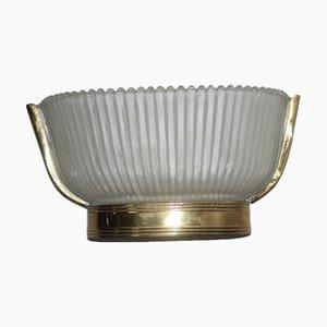 Italian Mid Century Brass & Glass Sconce