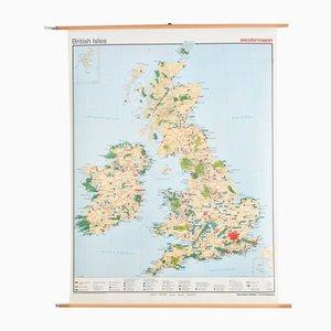 Carte des Iles Britanniques Vintage de Westermann, 1980s