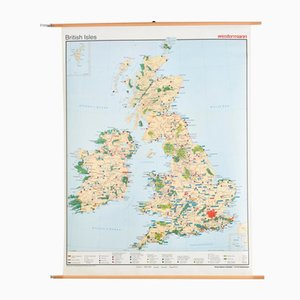 Vintage British Isles Map from Westermann, 1980s