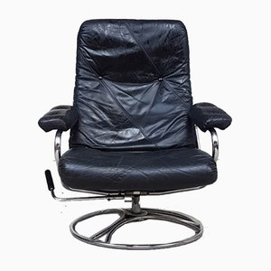 Mid-Century Leather and Chrome Reclining Chair from Ekornes